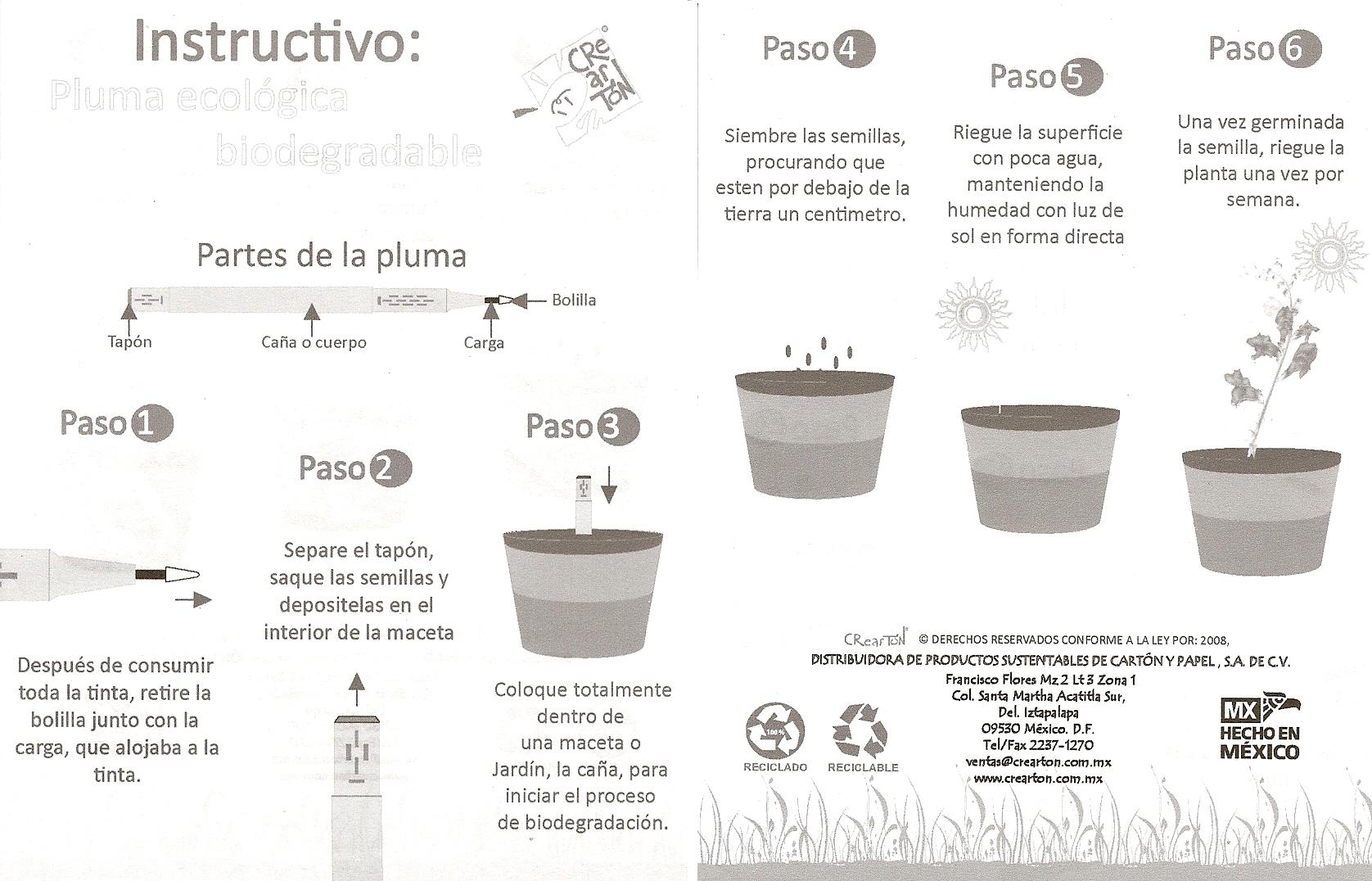 Pluma ecol gica biodegradable pulpito en su tinta for Pasos para sembrar una planta